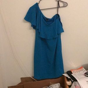 NWT 128$ Maggy London Blue One Shoulder Ruffle